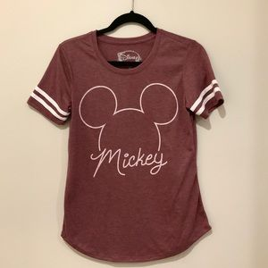 Mickey Mouse Logo Tee with stripe sleeves